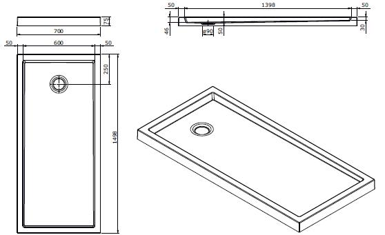 Receveur à poser Piano 150x70cm antidérapant Blanc - SANINDUSA Réf. 80325
