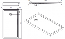 Receveur à poser Piano 150x80cm antidérapant Blanc - SANINDUSA Réf. 80327
