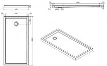 Receveur à poser Piano 160x80cm Blanc - SANINDUSA Réf. 80261