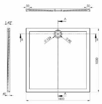 Receveur carré Prefixe 100x100cm Blanc - AQUARINE Réf. 820890