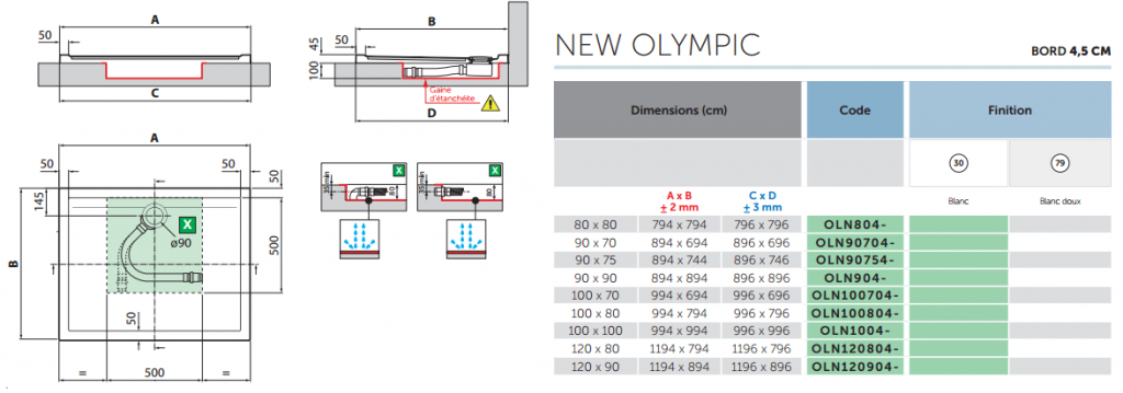 Receveur extra-plat Novellini New Olympic Blanc doux