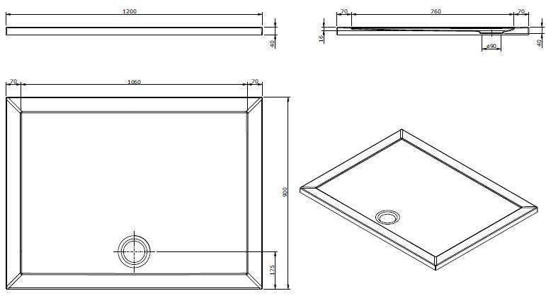 Receveur extra-plat Open 120x90cm Blanc - SANINDUSA Réf. 801020