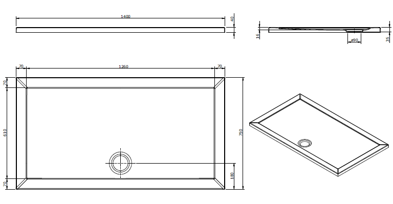 Receveur extra-plat Open 140x75cm Blanc - SANINDUSA Réf. 801030