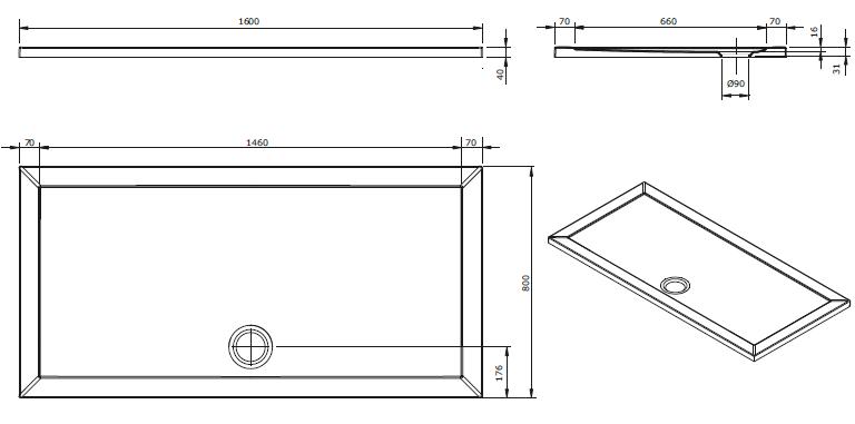 Receveur extra-plat Open 160x80cm Blanc - SANINDUSA Réf. 801450