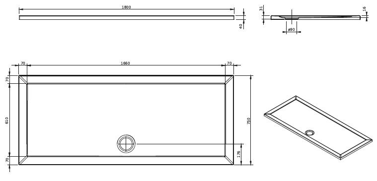 Receveur extra-plat Open 180x75cm Blanc - SANINDUSA Réf. 801520