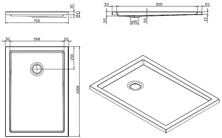 Receveur extra-plat Piano 100x70cm antidérapant Blanc - SANINDUSA Réf. 80272