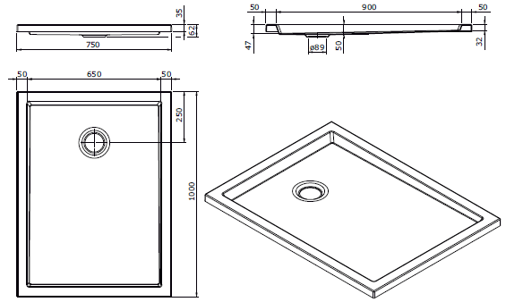 Receveur extra-plat Piano 100x75cm antidérapant Blanc - SANINDUSA Réf. 80273