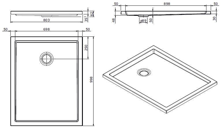 Receveur extra-plat Piano 100x80cm antidérapant Blanc - SANINDUSA Réf. 80274