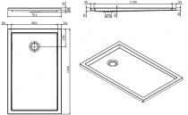 Receveur extra-plat Piano 120x75cm antidérapant Blanc - SANINDUSA Réf. 80277