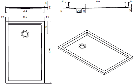 Receveur extra-plat Piano 120x75cm Blanc - SANINDUSA Réf. 80206