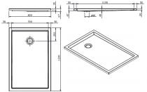 Receveur extra-plat Piano 120x80cm antidérapant Blanc - SANINDUSA Réf. 80278