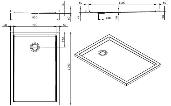 Receveur extra-plat Piano 120x80cm Blanc - SANINDUSA Réf. 80207