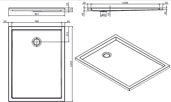 Receveur extra-plat Piano 120x90cm Blanc - SANINDUSA Réf. 80208