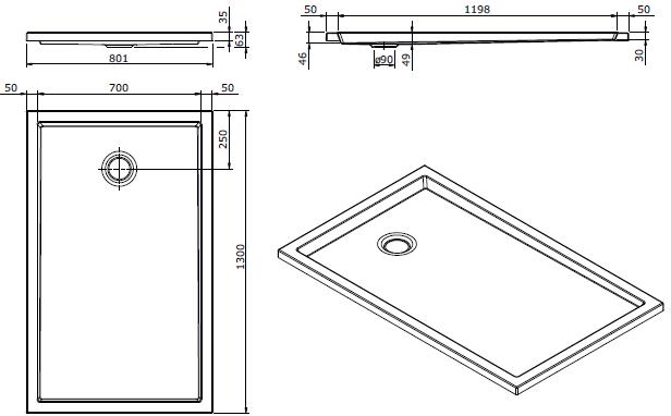 Receveur extra-plat Piano 130x80cm antidérapant Blanc - SANINDUSA Réf. 80283