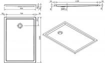 Receveur extra-plat Piano 130x90cm antidérapant Blanc - SANINDUSA Réf. 80284