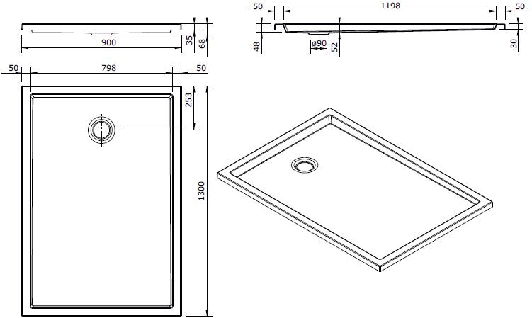 Receveur extra-plat Piano 130x90cm Blanc - SANINDUSA Réf. 80213