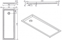 Receveur extra-plat Piano 180x70cm antidérapant Blanc - SANINDUSA Réf. 80298