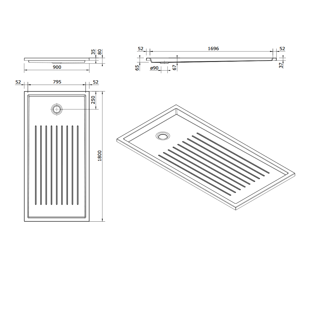 Receveur extra-plat Piano 180x90cm antidérapant Blanc - SANINDUSA Réf. 80302