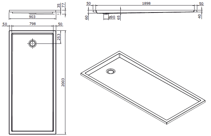 Receveur extra-plat Piano 200x90cm antidérapant Blanc - SANINDUSA Réf. 80306