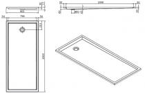 Receveur extra-plat Piano 200x90cm Blanc - SANINDUSA Réf. 80235
