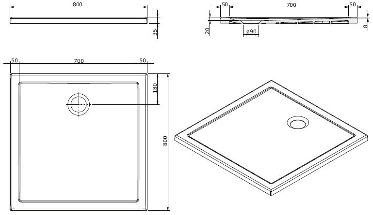 Receveur extra-plat Steppin 80x80cm Blanc - SANINDUSA Réf. 107520