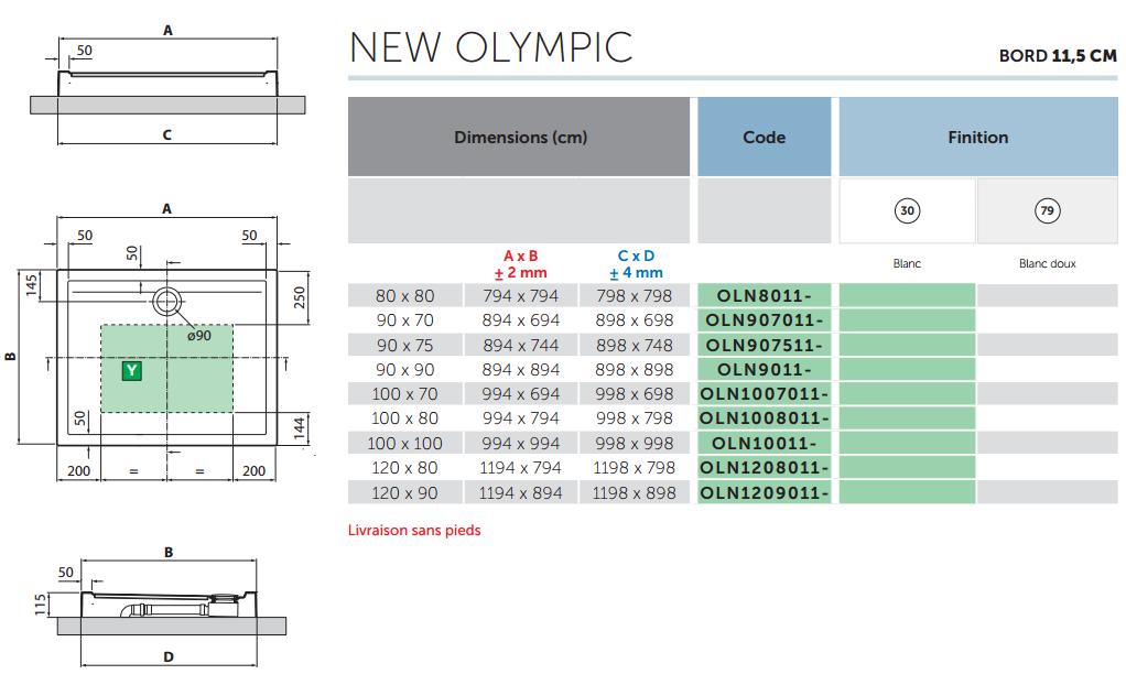 Receveur Novellini New Olympic Blanc doux