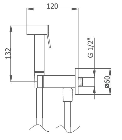Robinet Perineal Intim Quadro Chromé - GRB Réf. 08155200