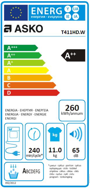 Sèche-linge pompe à chaleur 11kg A++ Blanc - ASKO Réf. T411HDW