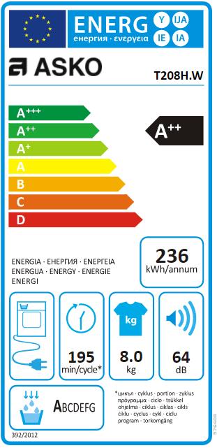 Sèche-linge pompe à chaleur 8kg A++ Blanc - ASKO Réf. T208HW