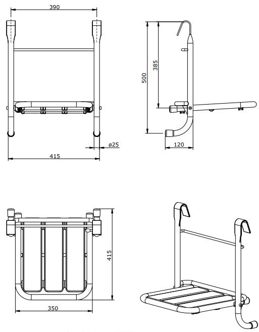 Siège de douche pliant amovible WCCare Blanc  - SANINDUSA Réf. 4804900