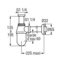 Siphon à culot pour lavabo Chrome - JACOB DELAFON Réf. E78286-CP