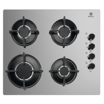 Table de cuisson gaz 60cm 4 foyers verre Silver - ELECTROLUX Réf. KGG6407M