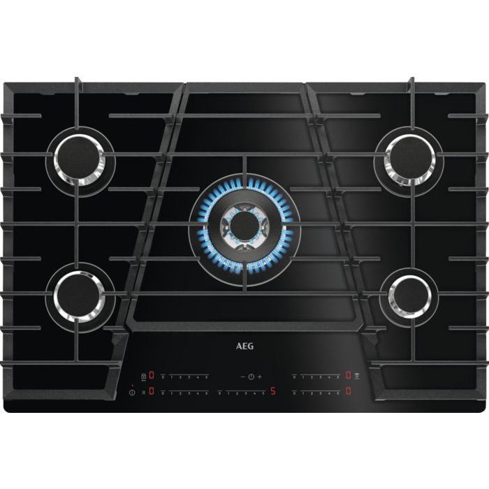 table de cuisson gaz 75cm 5 foyers noir  aeg réf hvb75450ib