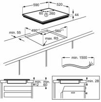 Table de cuisson induction 60cm 3 foyers Noir - Electrolux Réf. LIT60331BK