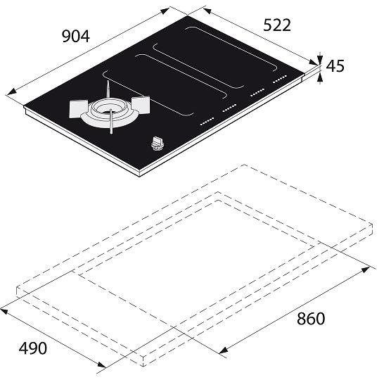 Table de cuisson mixte 90cm 4 foyers induction + 1 gaz naturel Noir - ASKO Réf. HIG1995ABNATUREL