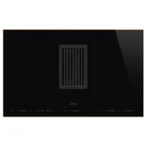Table induction aspirante Dolce Stil Novo 80cm 4 foyers Noir / cuivre - SMEG Réf. HOBD682R