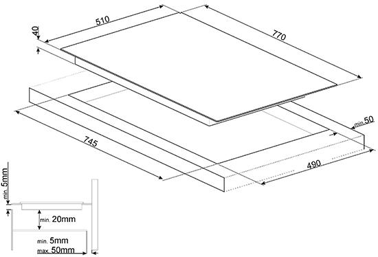 Table vitrocéramique - SMEG ELITE Réf. SE384EMTB