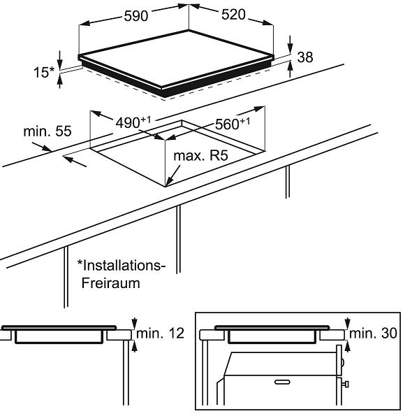 Table vitrocéramique 60cm 3 foyers Noir - ELECTROLUX Réf. EHV6232FOK