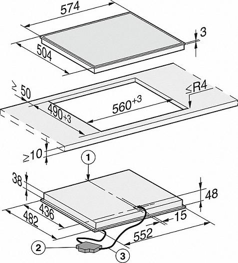 Table vitrocéramique 60cm 3 zones Noir cadre Inox - MIELE Réf. KM6527FR