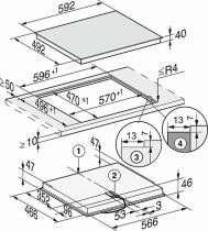 Table vitrocéramique 60cm 4 foyers Noir - MIELE Réf. 10889580
