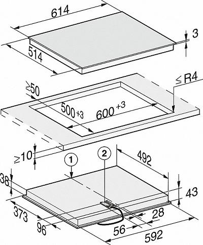 Table vitrocéramique 60cm 4 foyers Noir cadre Inox - MIELE Réf. KM6540FR