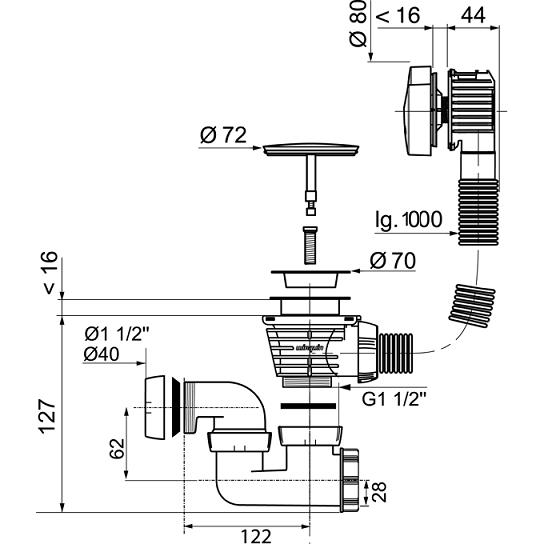 Vidage central à câble ABS Chromé - Wirquin Réf. 30720363